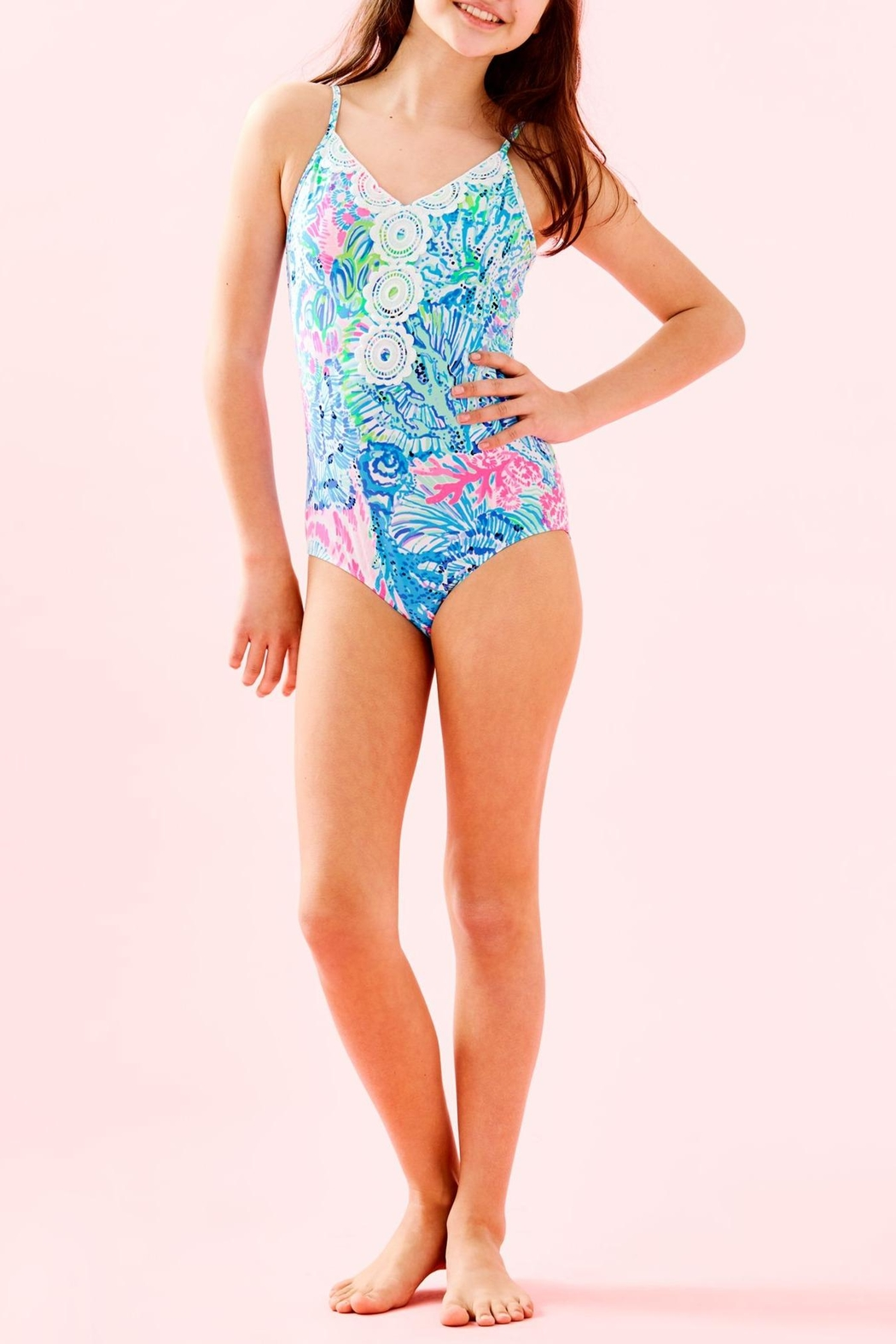 Lilly Pulitzer Girls Danica Swimsuit - Back Cropped Image