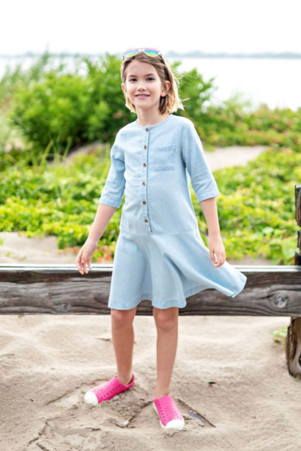 TEELA GIRLS Denim Skater Button Down Dress - Front Cropped Image