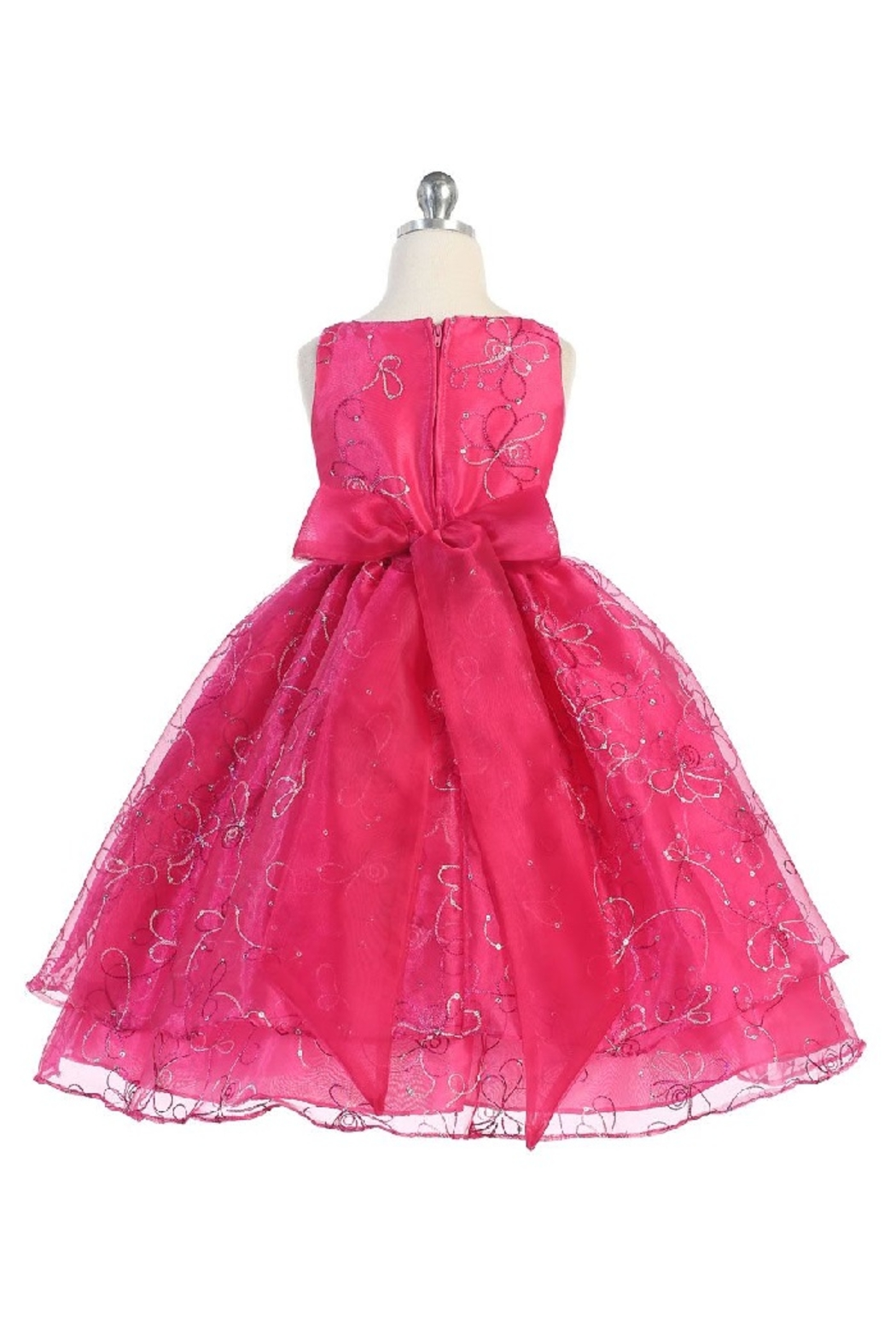 Calla Collection  Girls Fuchsia Embroidered Short Dress - Front Full Image