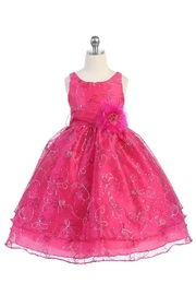 Calla Collection  Girls Fuchsia Embroidered Short Dress - Front cropped
