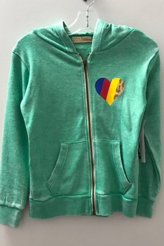 Vintage Havana GIRLS green zip hoodie with heart and stripe - Product List Image