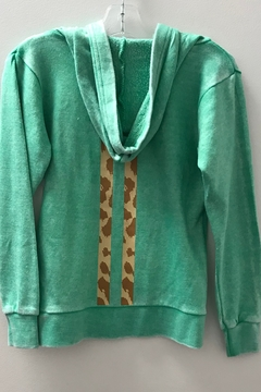 Vintage Havana GIRLS green zip hoodie with heart and stripe - Alternate List Image