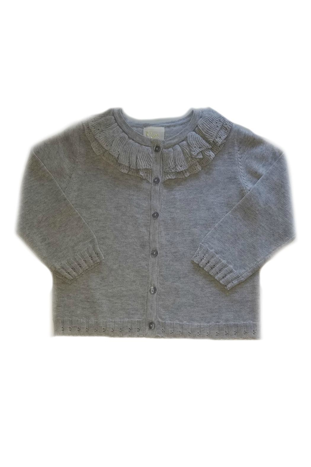 Petit Ami Girls Grey Cardigan - Front Cropped Image