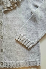 Petit Ami Girls Grey Cardigan - Front full body
