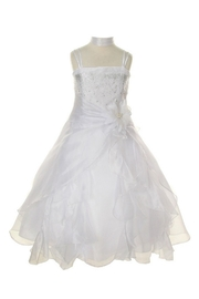 Cinderella Couture Girls Ivory Beaded Long Dress - Product Mini Image