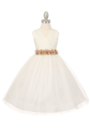 Cinderella Couture Girls Ivory Tulle With Satin Belt Dress - Product Mini Image