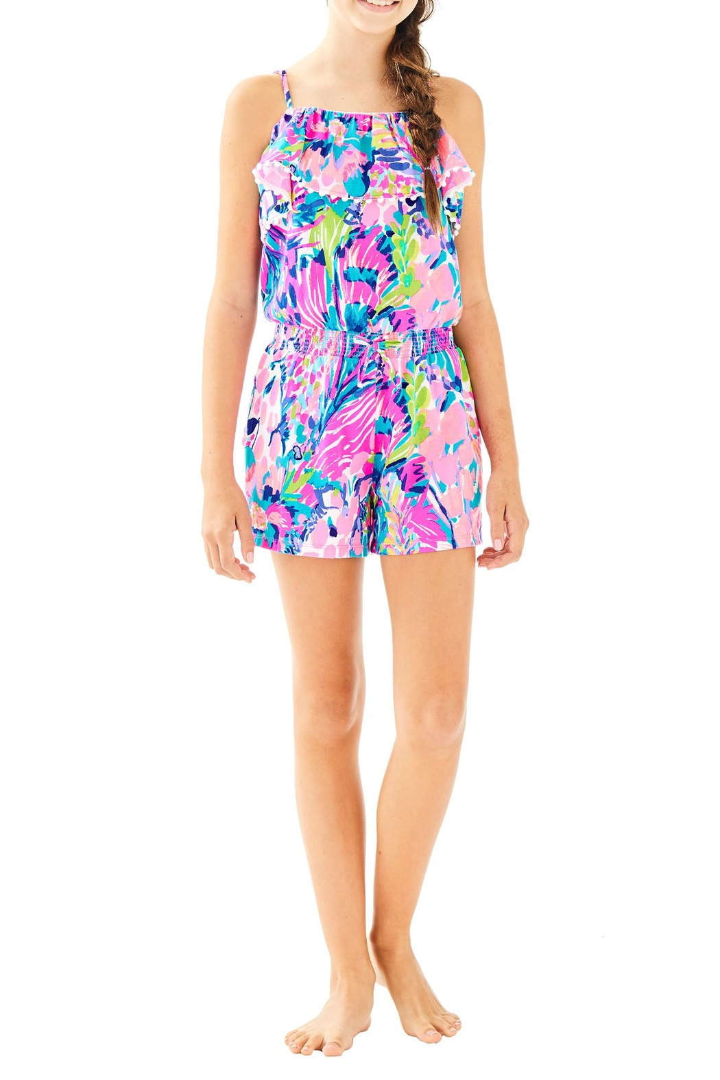 Lilly Pulitzer Girls Leonie Romper - Side Cropped Image