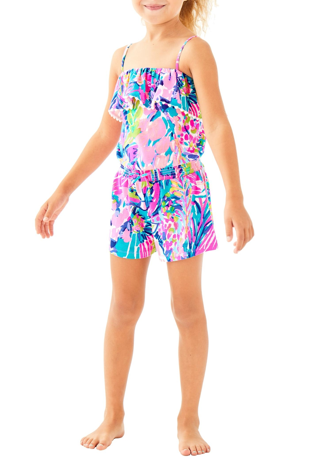 Lilly Pulitzer Girls Leonie Romper - Front Cropped Image