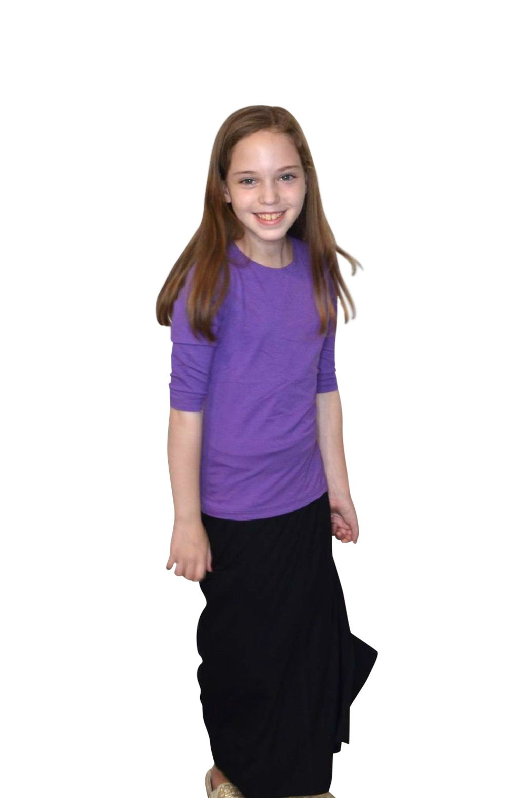 Kosher Casual Girls Maxi Skirt Flowing A-Line - Back Cropped Image
