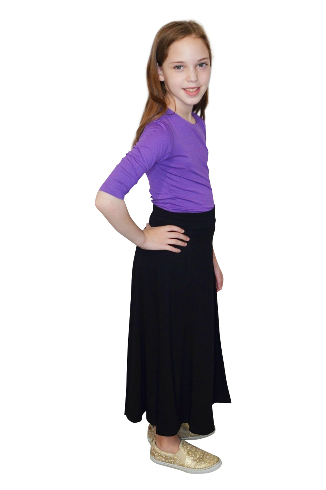 Kosher Casual Girls Maxi Skirt Flowing A-Line - Side Cropped Image