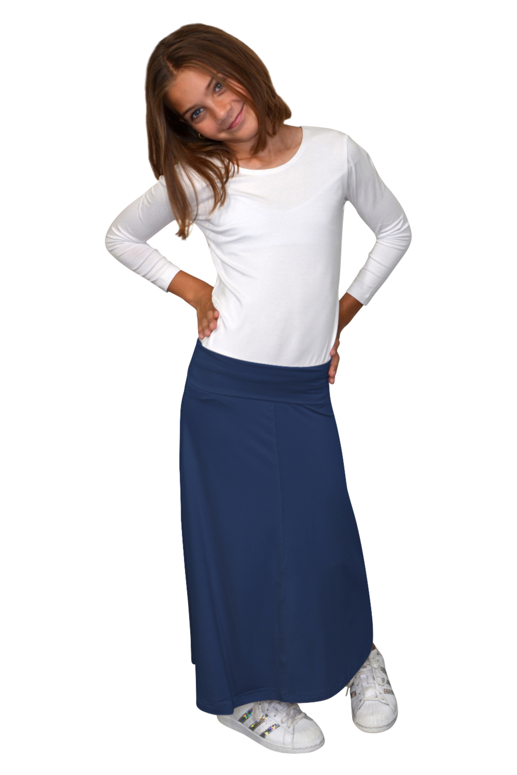 Kosher Casual Girls Maxi Skirt Flowing A-Line - Front Cropped Image