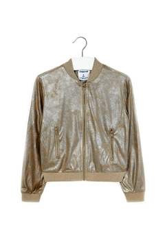Shoptiques Product: Girls-Metallic-Gold-Bomber-Style-Jacket