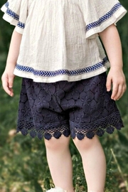 MAE LI ROSE Girls Navy-Lace Shorts - Front cropped