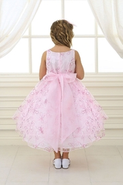 Calla Collection  Girls Pink Embroidered Short Dress - Front full body