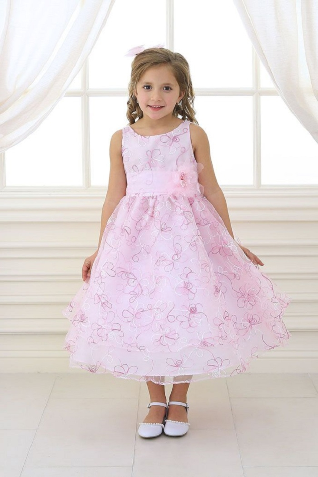 Calla Collection  Girls Pink Embroidered Short Dress - Main Image