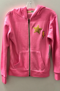 Vintage Havana GIRLS pink zip hoodie with stars - Product List Image
