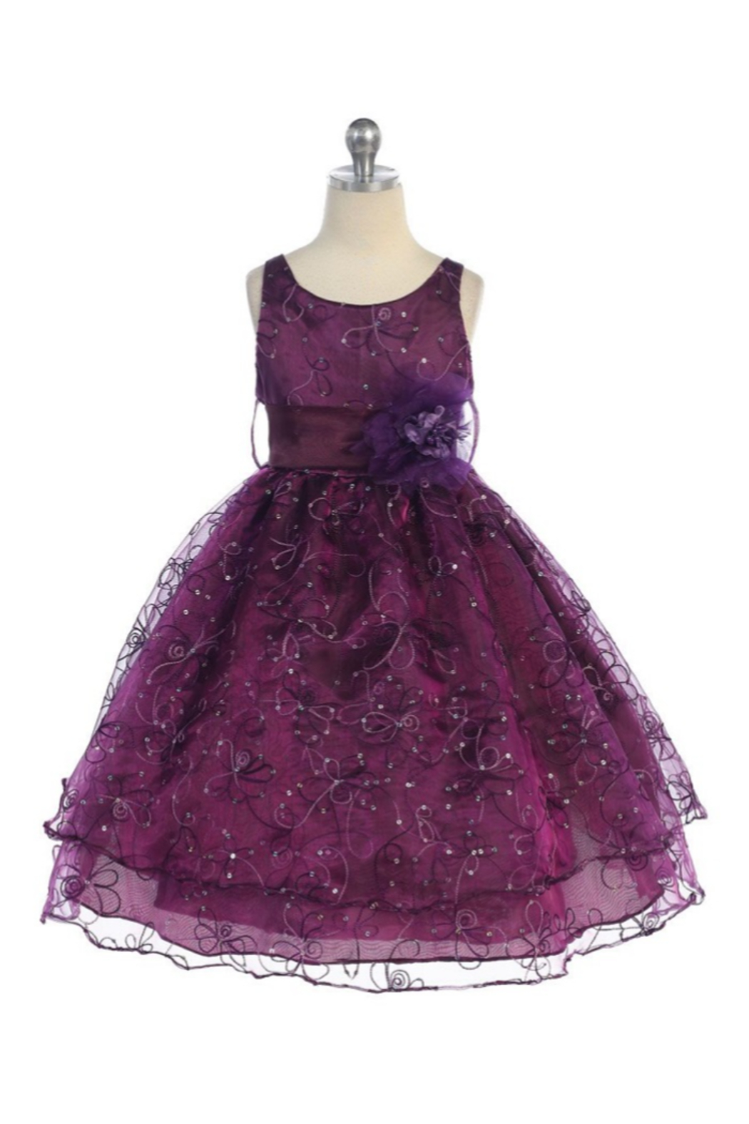 Calla Collection  Girls Plum Embroidered Short Dress - Main Image