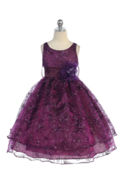 Calla Collection  Girls Plum Embroidered Short Dress - Product Mini Image
