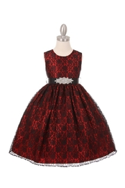Cinderella Couture Girls Red & Black Lace Short Dress - Product Mini Image