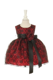 Cinderella Couture Baby Girls Red & Black Lace Short Dress - Product Mini Image