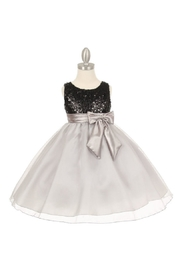 Cinderella Couture Girls Silver & Black Sequin Short Dress - Product Mini Image