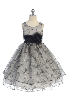 Shoptiques Product: Girls Silver Embroidered Short Dress