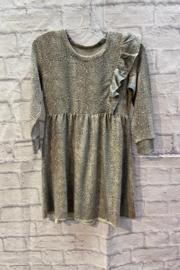 Chaser GIRLS Soft Animal print L/S dress with ruffle detail - Front cropped
