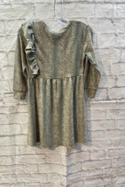 Chaser GIRLS Soft Animal print L/S dress with ruffle detail - Front full body