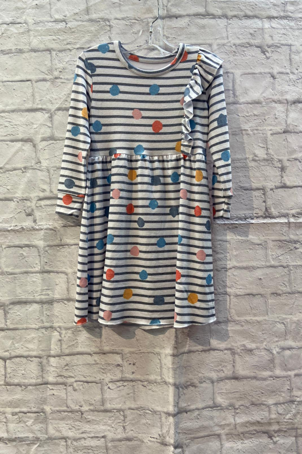 Chaser GIRLS Soft Stripe/Dot print L/S dress with ruffle detail - Main Image
