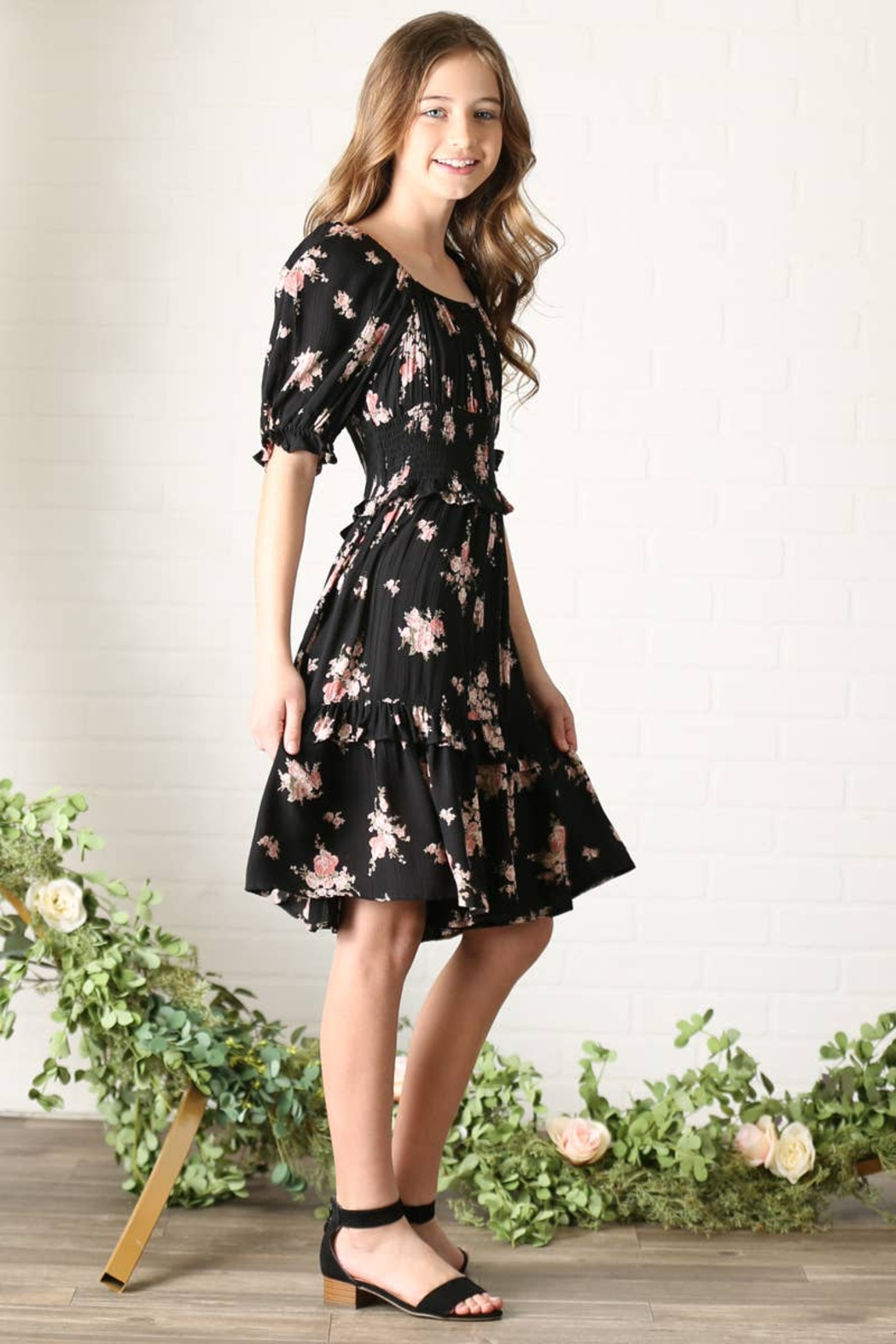 Angie Girls Square Neck Smocked Waist Floral Print Dress - Side Cropped Image