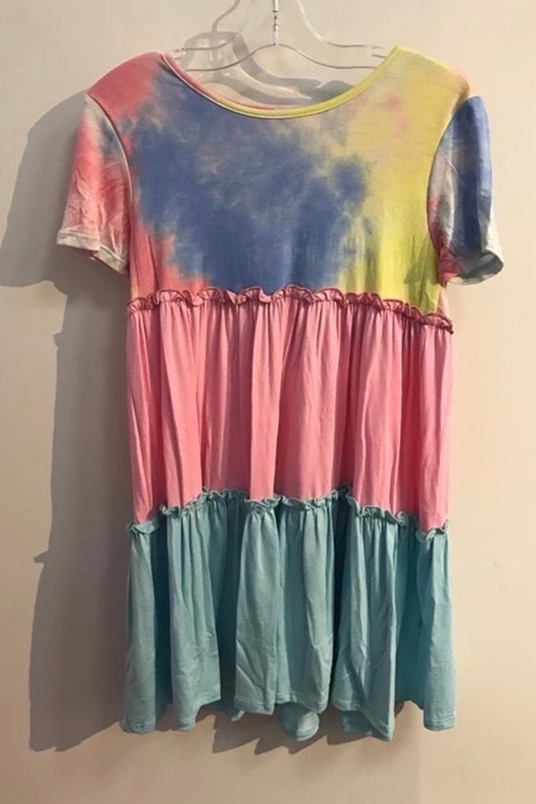 GTOG GIRLS Tie Dye and color block short sleeve dress - Front Cropped Image