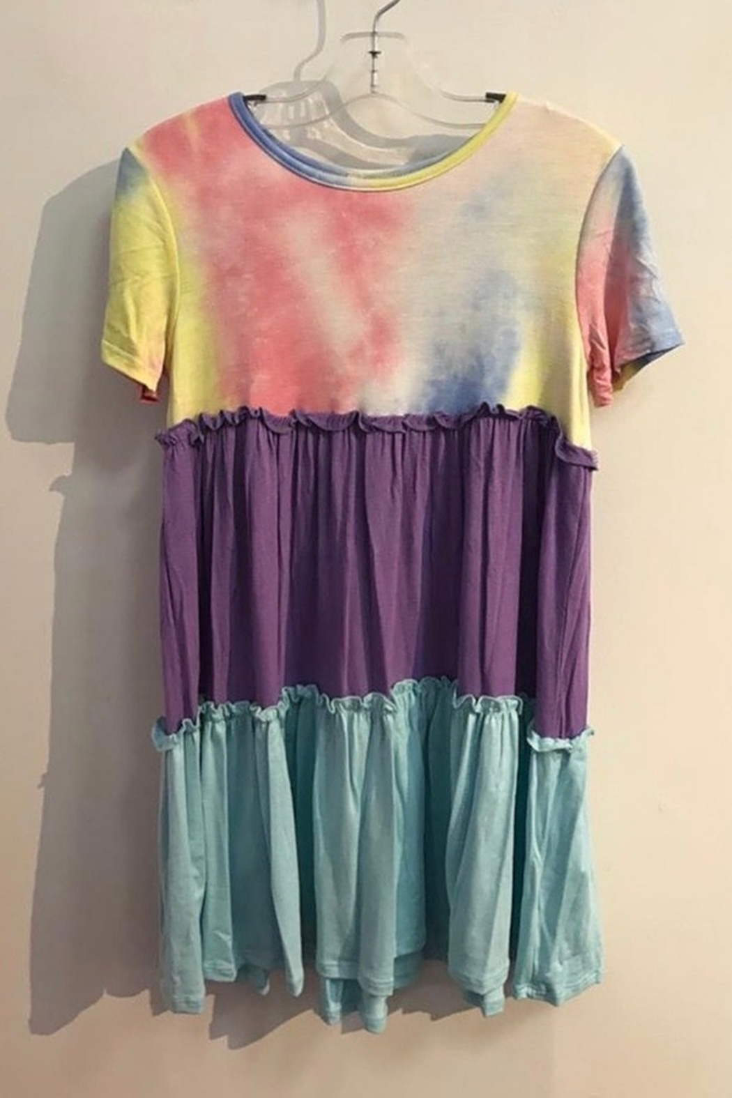 GTOG GIRLS Tie Dye and color block short sleeve dress - Main Image
