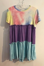 GTOG GIRLS Tie Dye and color block short sleeve dress - Front cropped