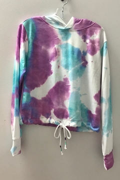 Shoptiques Product: GIRLS  TIE DYE HOODIE WITH WAIST DRAWSTRING