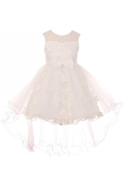 Cinderella Couture Girls White 3D Applique High Low Dress - Product Mini Image