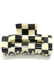 Girly Black And White Checkered Design Hair Clip - Front cropped