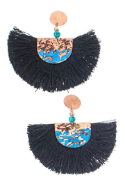 Girly Fringe Hammered Earrings - Front cropped