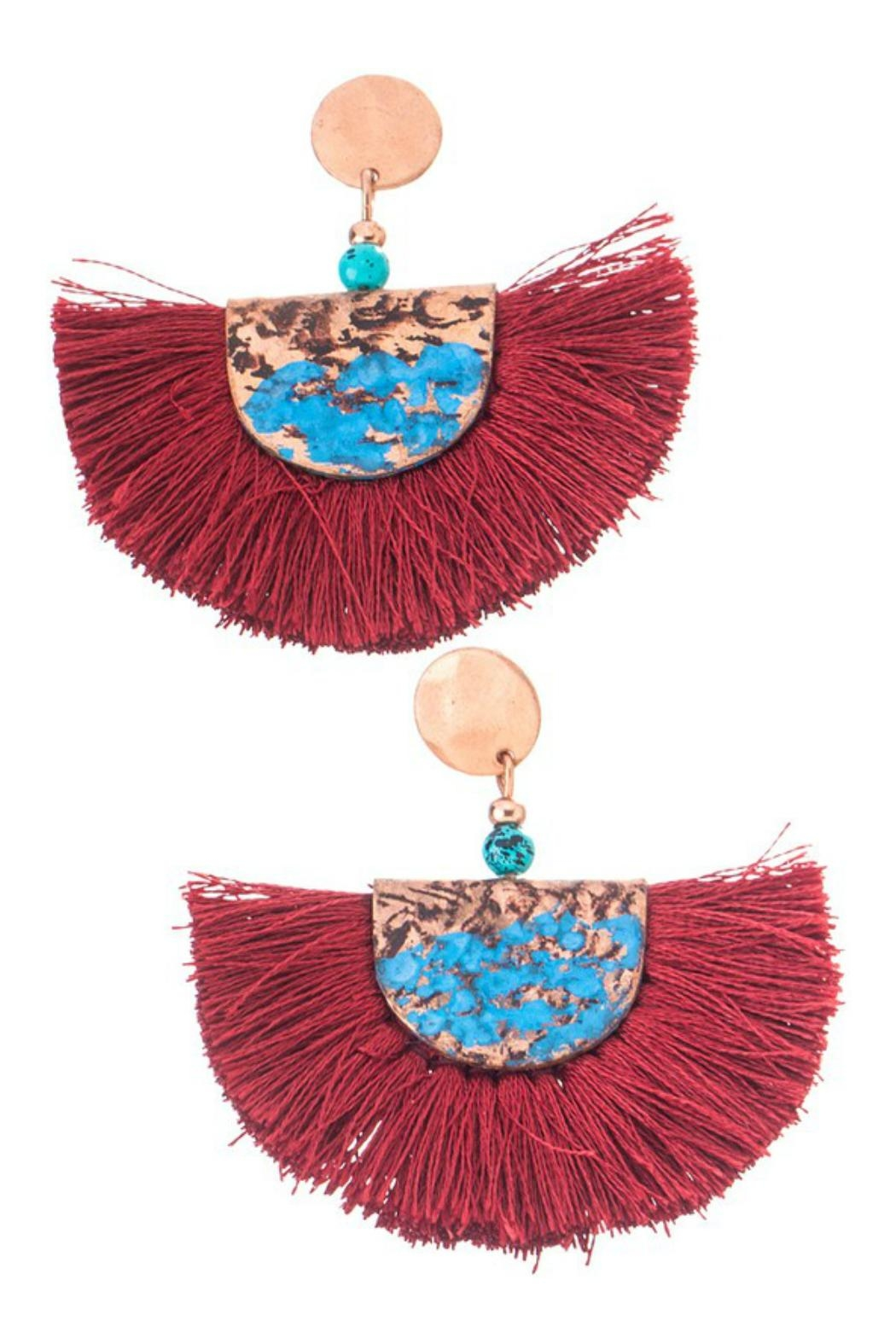 Girly Fringe Hammered Earrings - Front Cropped Image