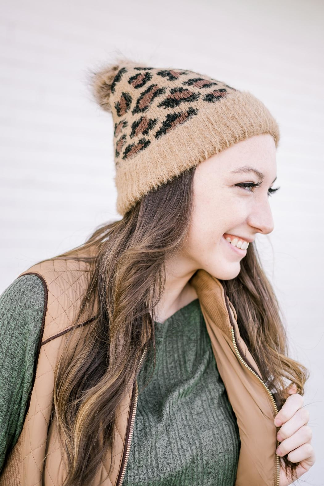 Girly Leopard Stocking Hat - Front Cropped Image
