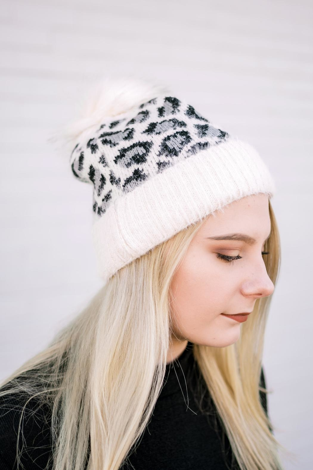 Girly Leopard Stocking Hat - Front Full Image