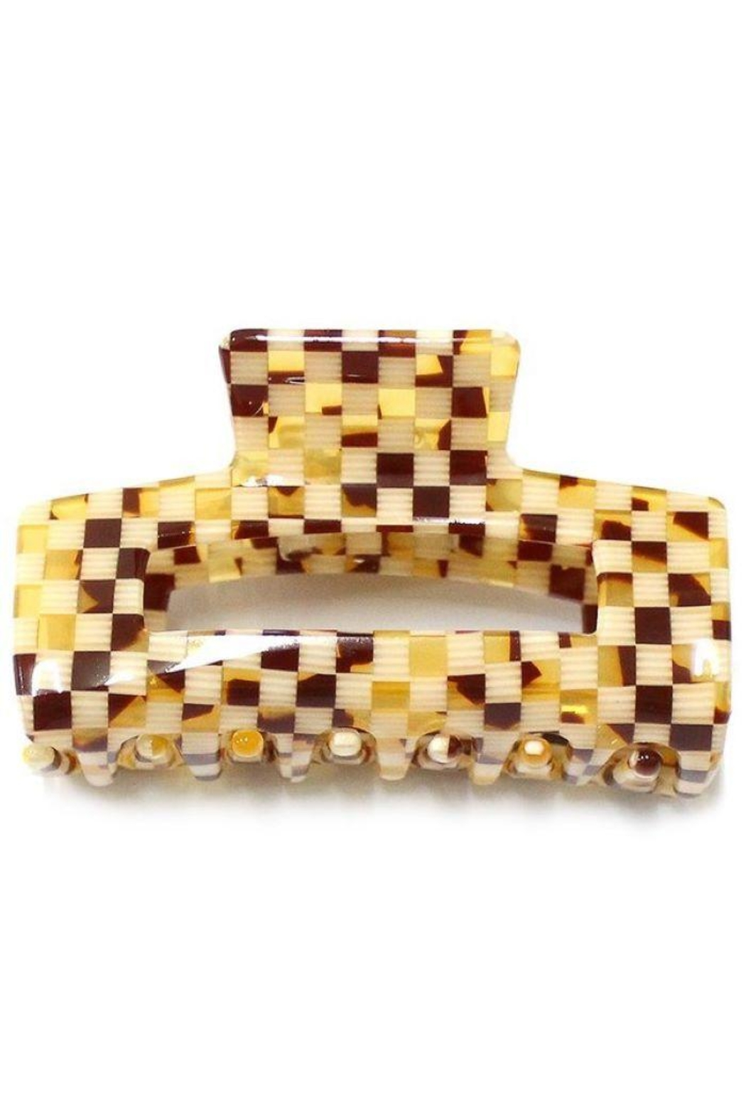 Girly White And Brown Checkered Hair Clip - Main Image