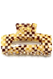 Girly White And Brown Checkered Hair Clip - Front cropped