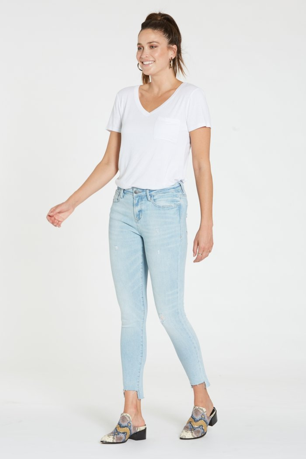 Dear john  Gisele Hi Waist Raw Step Hem Jean - Side Cropped Image