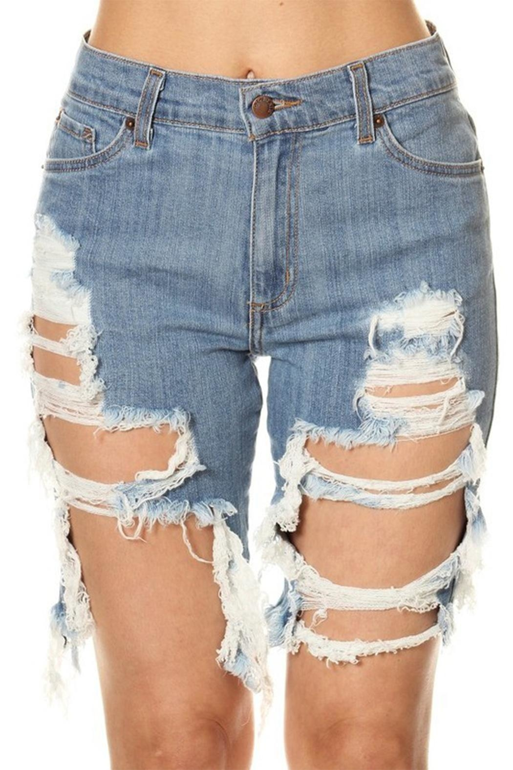 GJG Denim Daisy Bermuda Shorts - Main Image