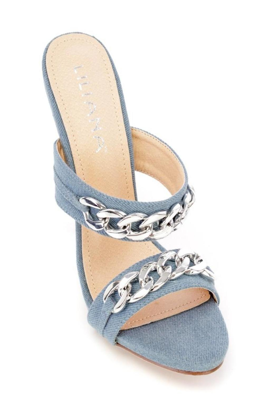 GL Denim Strappy Heels - Front Full Image