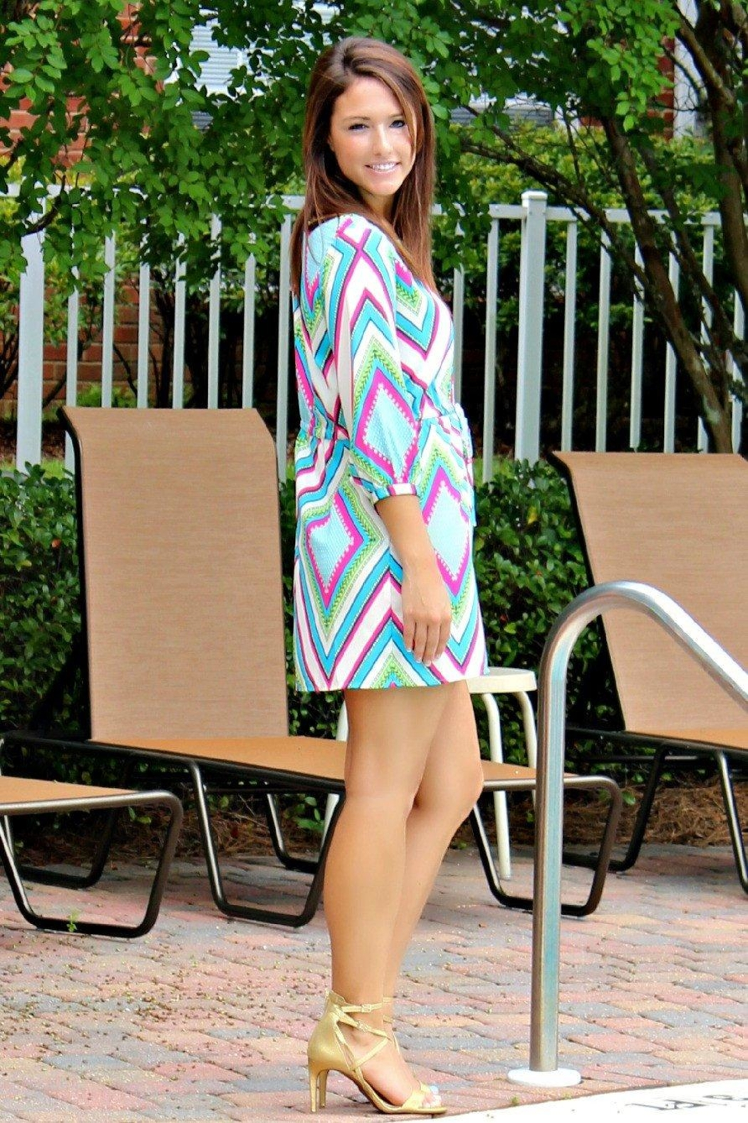 Glam Bright Geo Dress - Side Cropped Image