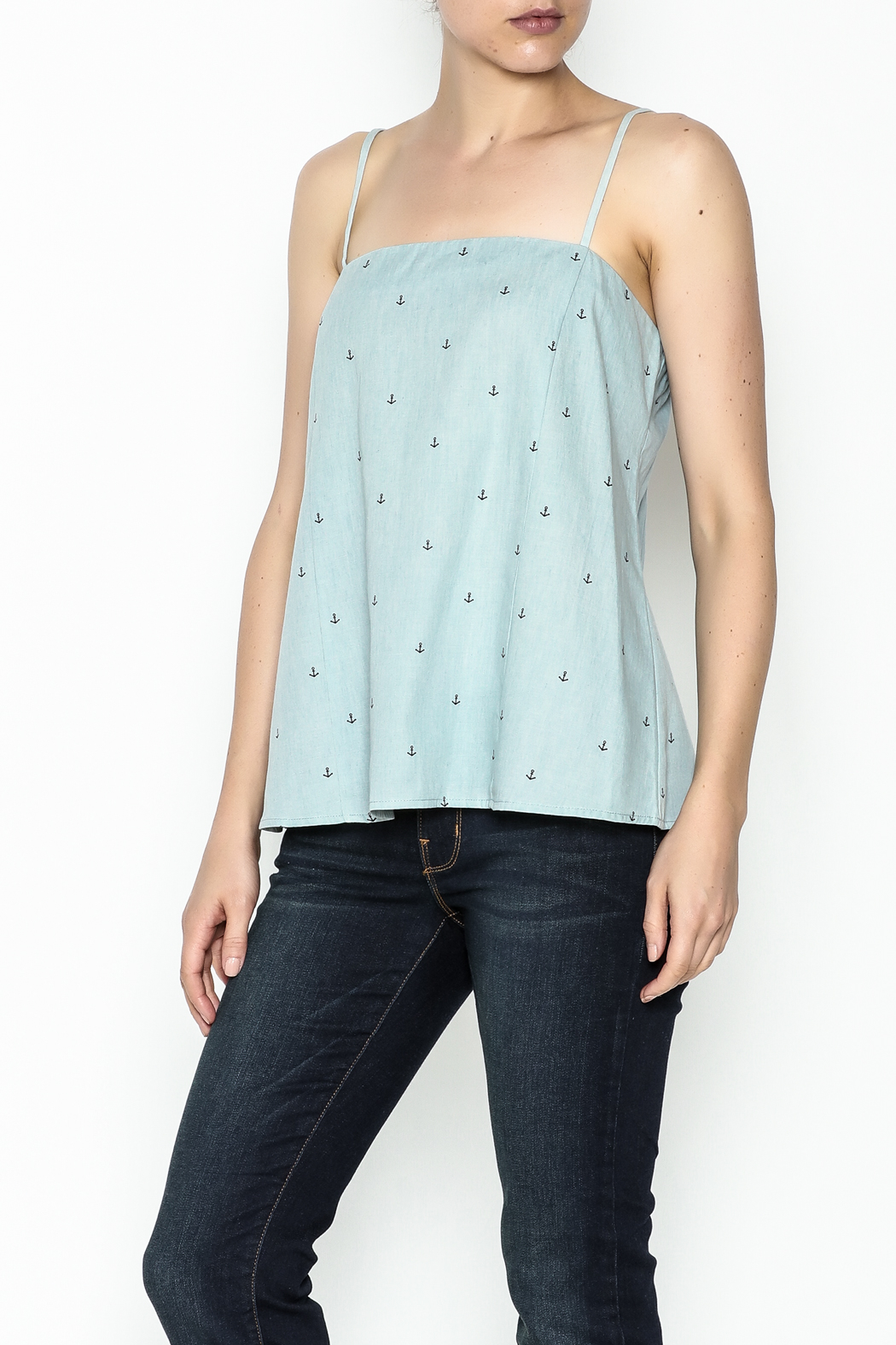 Glam Chambray Anchor Tank - Front Cropped Image