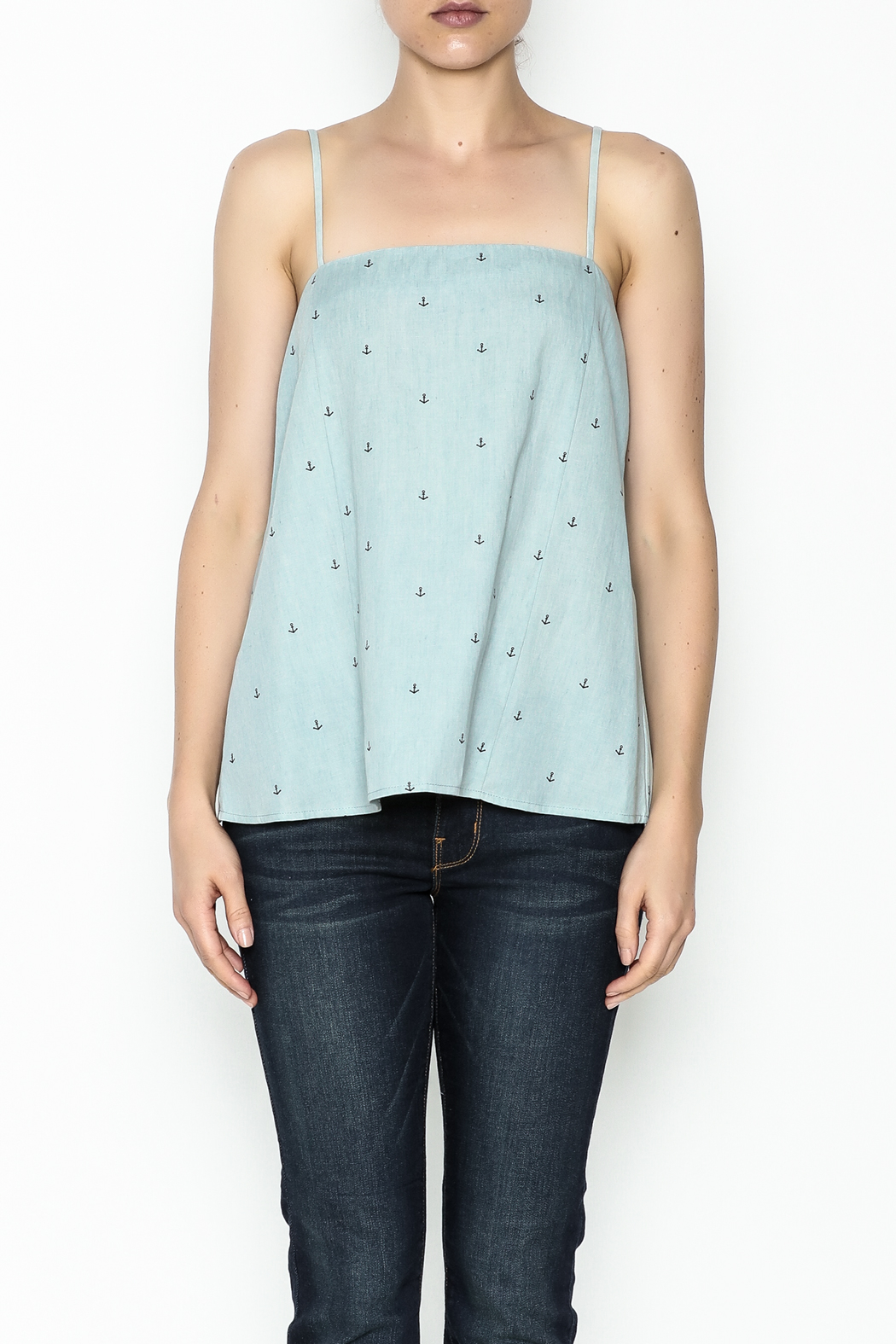 Glam Chambray Anchor Tank - Front Full Image