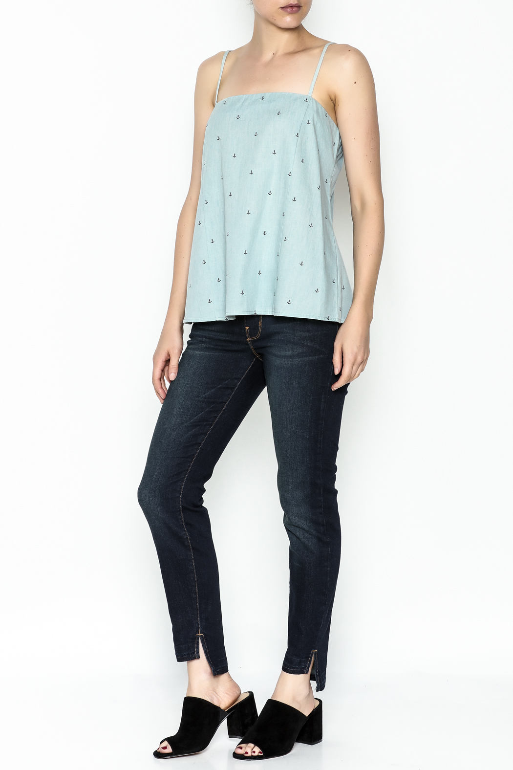 Glam Chambray Anchor Tank - Side Cropped Image
