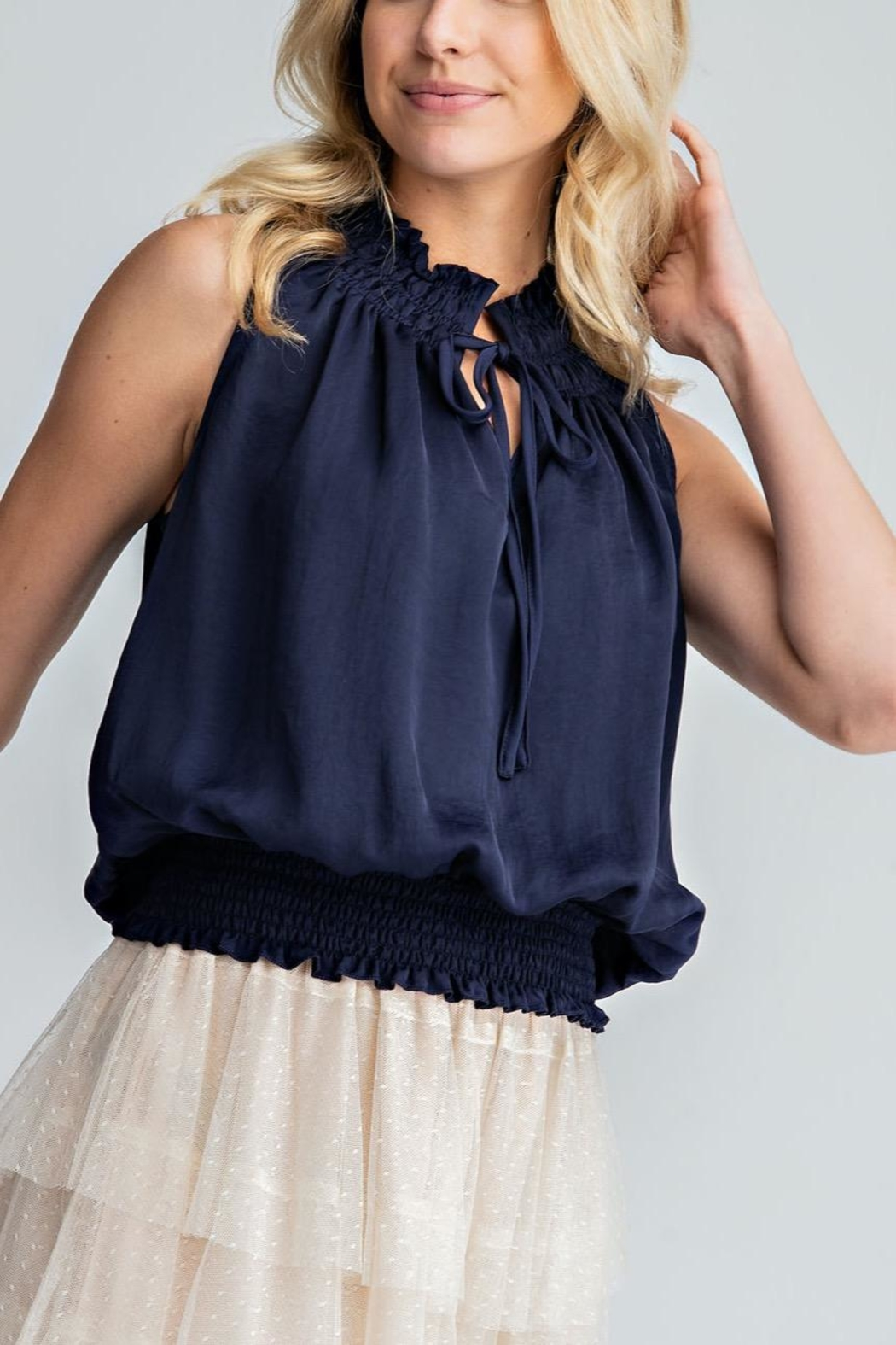 Glam Mocked Sleeveless Top - Front Cropped Image